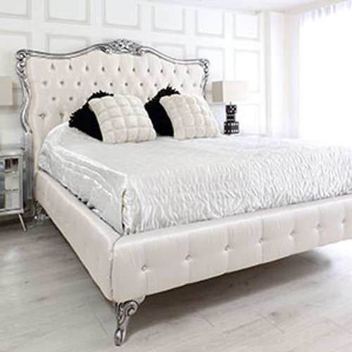 French Style Silver Tufted Bed