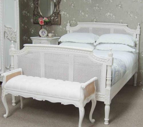 Tufted Provincial Bench, Painted White With Natural Rattan