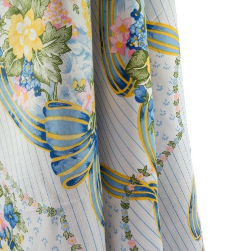 Chelsea Bow Curtains, Blue/White Striped Multi