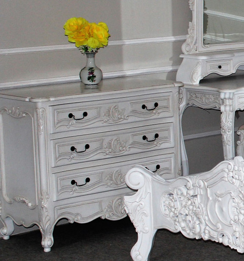 Rococo 3 Drawer Chest, Antique White