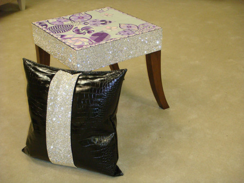 Belgravia Side Table Showing Fabric Designed by Emilio Pucci