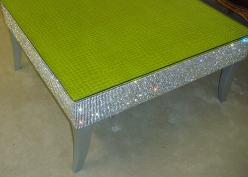 Belgravia Coffee Table, Crock Faux Leather, Bling