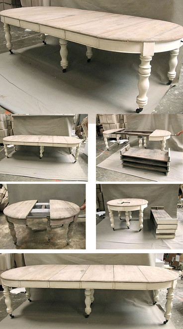 French Round Dining Table, Chateau Ivory