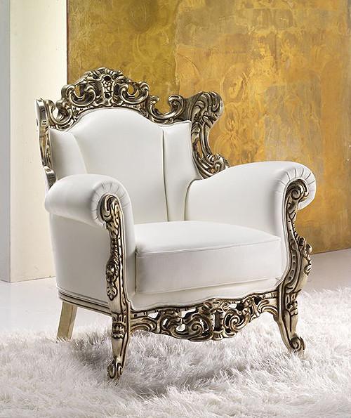 White Leather Throne Armchair