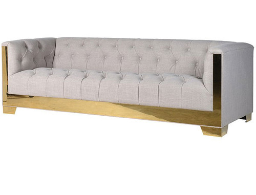 Tufted Modern 3 Seater Sofa With Gold Frame