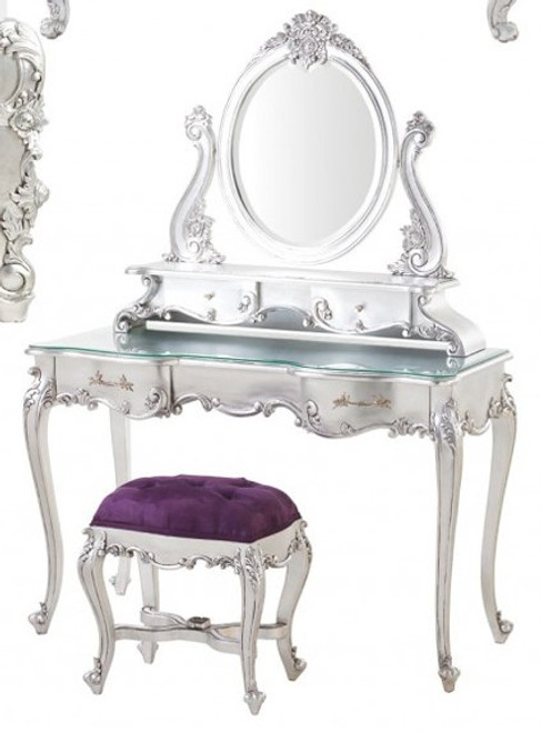 Rococo Vanity And Stool, Purple & Silver