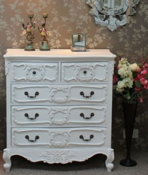 Rococo 5 Drawer Chest, Chateau White