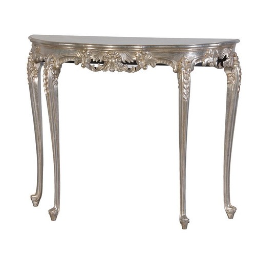 French Chateau Silver Console Table