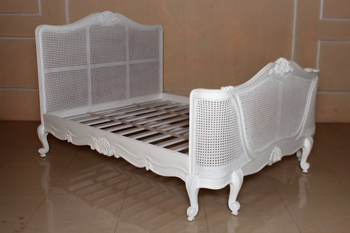 French Chateau Rattan Bed, White