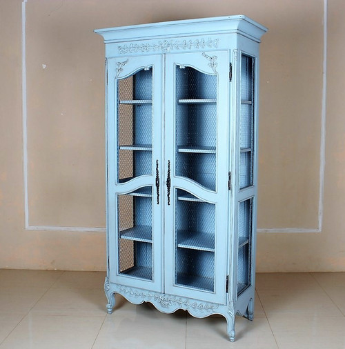 French Chateau  Armoire Wardrobe,  Distressed Blue