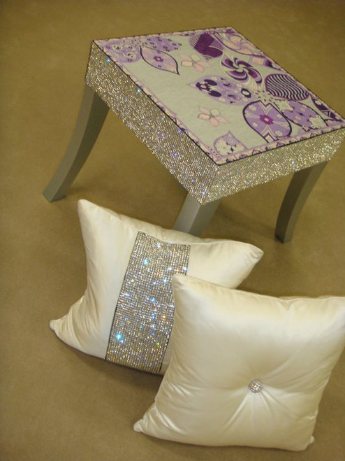 Belgravia Side Table......Silver Legs Showing Fabric Designed by Emilio Pucci
