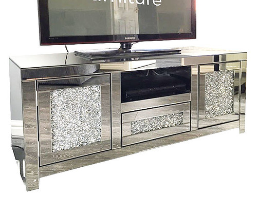Crushed Ice Mirrored TV Stand