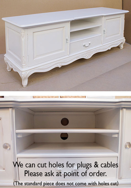 French Chateau White Low Sideboard TV Unit With White Handles