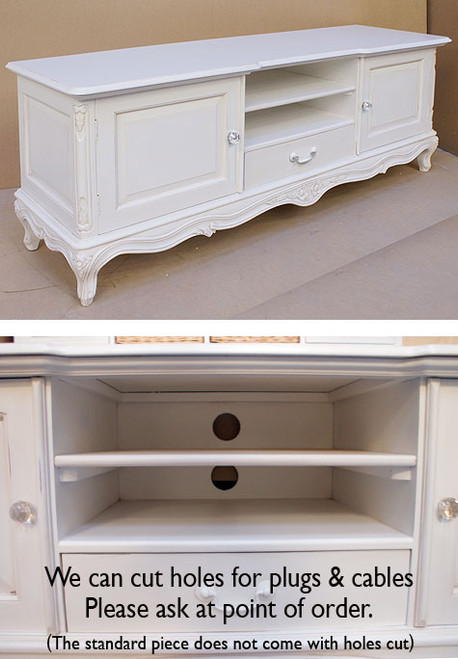 French Chateau White Low Sideboard TV Unit With Crystal Handles