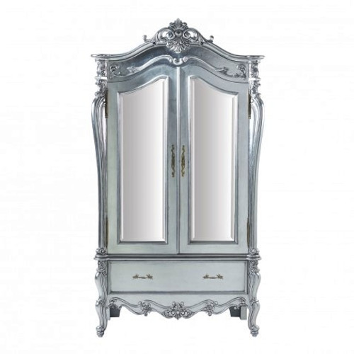 Silver Rococo Armoire Front View