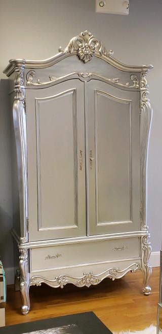 Silver Rococo Armoire