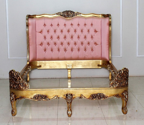 Versailles Tufted Bed, Shown in Gold with Pink Silk