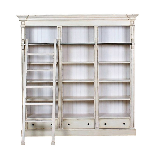Ivory Library Bookcase with ladder