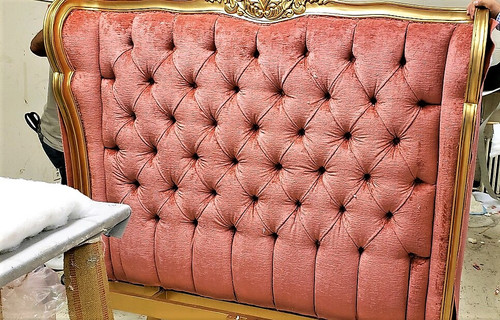 Wing Bed Tufted, Versailles Gold Leaf CUSTOM FABRIC