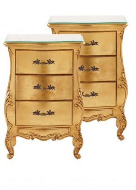 Baroque Bed Set, Gold 3 Piece