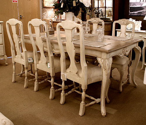 French Ivory Dining Table Set, Oval