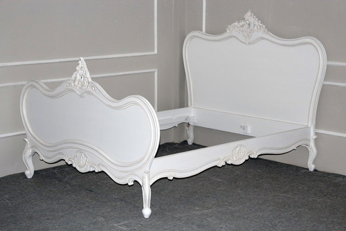 Provincial Luxury Carved Bedroom Set, Distressed White