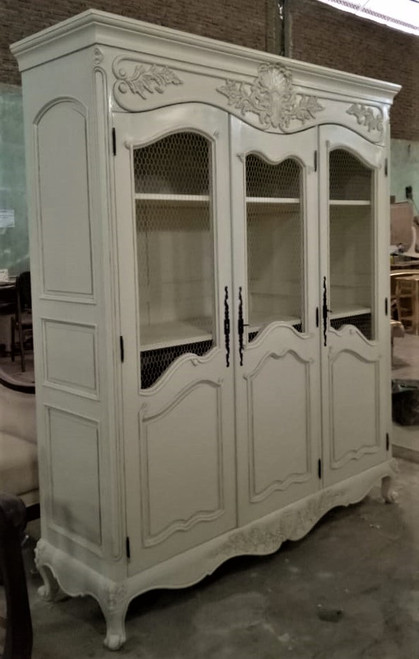 Shabby Chic Wire Showcase, French Antique Ivory