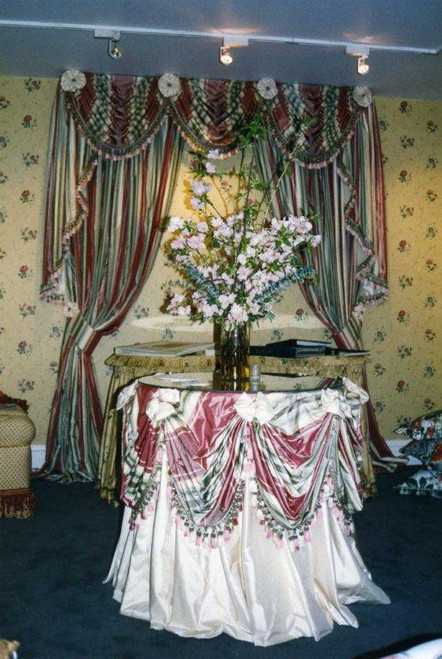Tablecloth & Swaging Overlay set...Striped Silk Overlay on Cream Silk Tablecloth