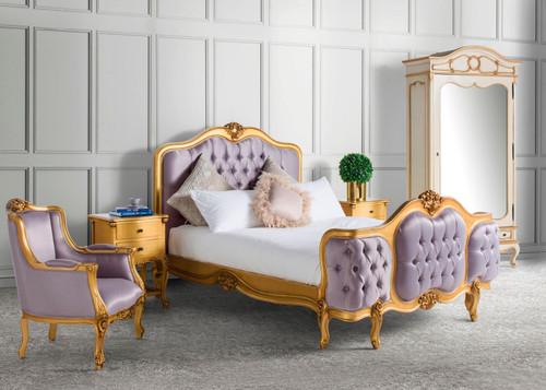 Wing Bed Tufted Bedroom Set, Rose Gold