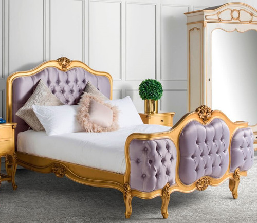 Wing Bed Tufted Versailles, Rose Gold