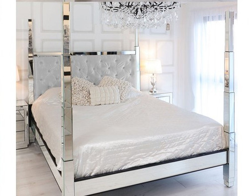 Glam Four Poster Mirrored Bed,  White Velvet
