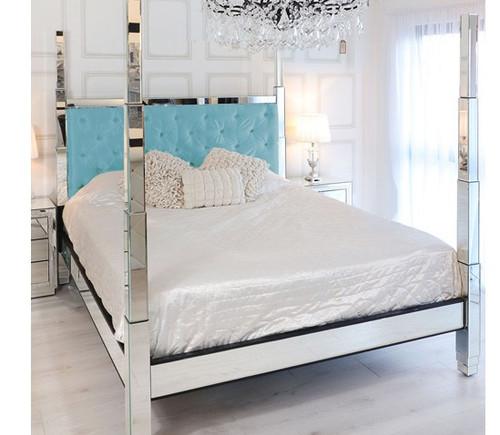 Glam Four Poster Mirrored Bed,  Light Blue Velvet