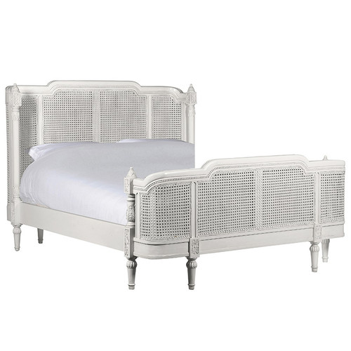 French Chateau Rattan Bedroom Set, Chateau White 4 Pieces