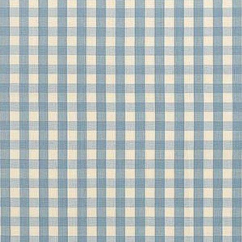 Schumacher Elton Cotton Check Sky Fabric