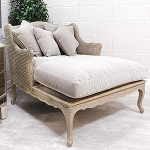 French Royal Grand Rattan Chaise