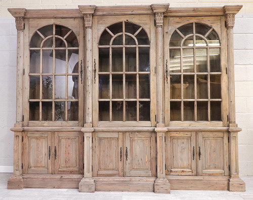 French Style Reclaimed Triple Bookcase