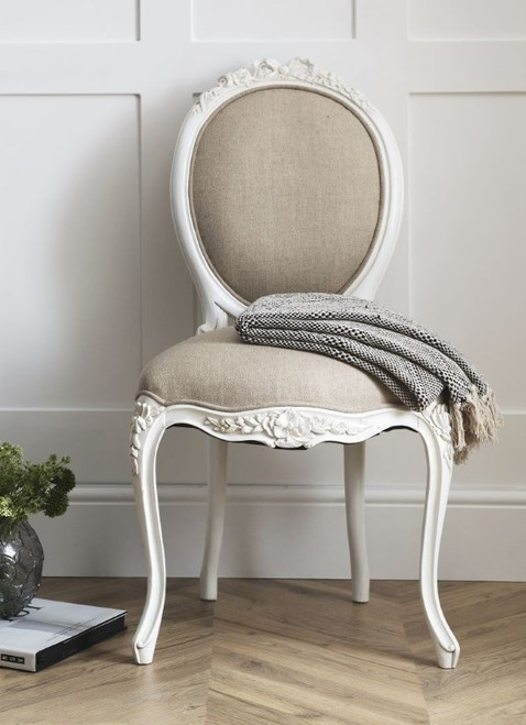 Marie Antoinette French Chateau Chair, Distressed White