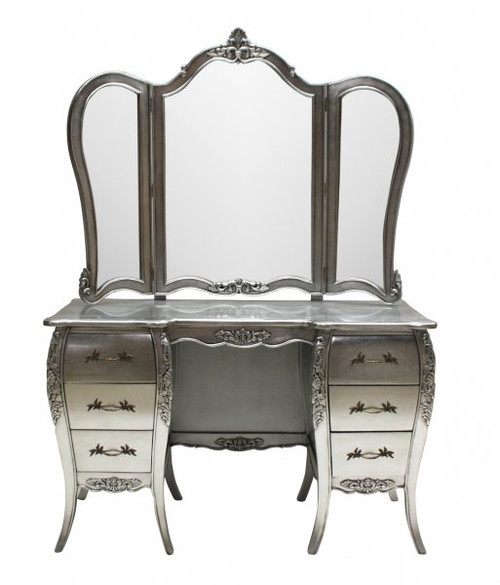 French Chateau Dressing Table, White & Mint Green
