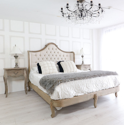 French Reclaimed Tufted Bed Set