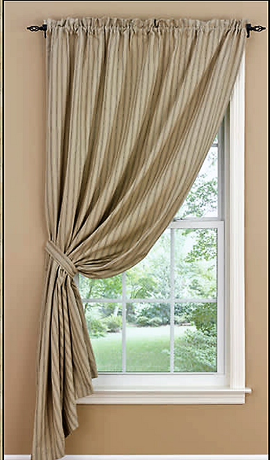 Ticking Curtains Ivory And Tan