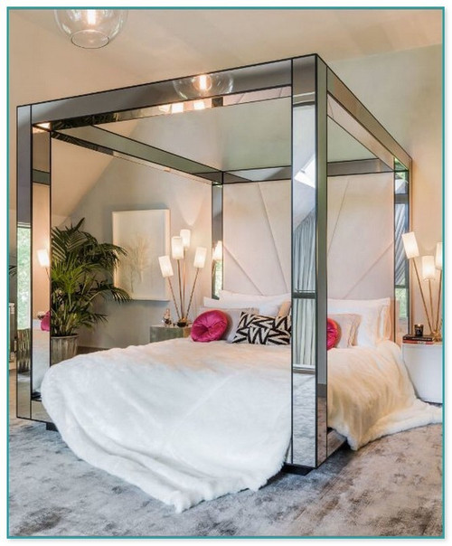 Mirrored Canopy Bed Custom upcharge