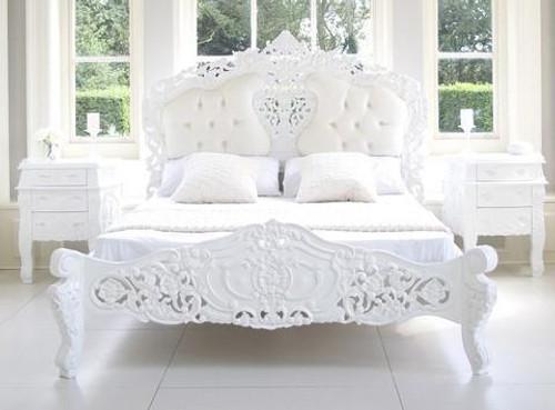 ROCOCO UPHOLSTERED BEDROOM SET WHITE