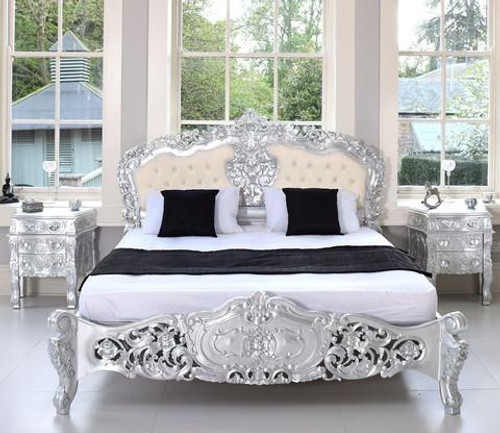 ROCOCO UPHOLSTERED BEDROOM SET SILVER