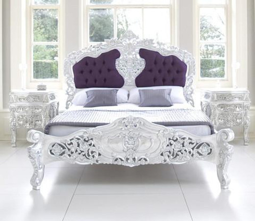 ROCOCO UPHOLSTERED BEDROOM SET SILVER AND PURPLE