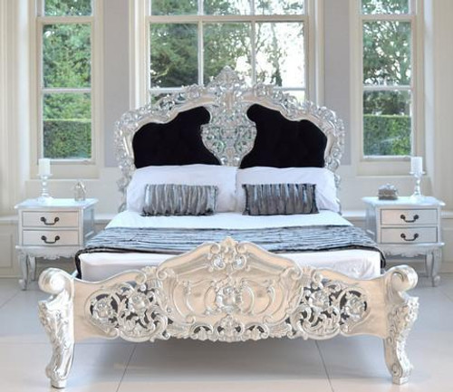 ROCOCO UPHOLSTERED BEDROOM SET WHITE AND BLACK