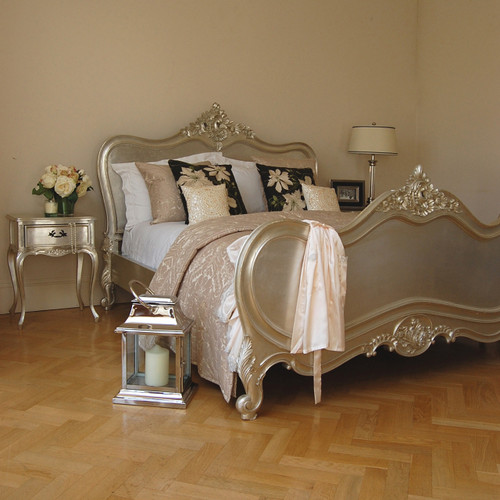Provincial Luxury Carved Bed & Side Table Set, Champagne