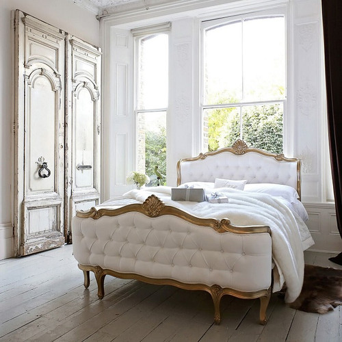 Champagne Gold French Tufted Bed