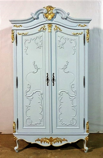 French Armoire, Blue And Gold