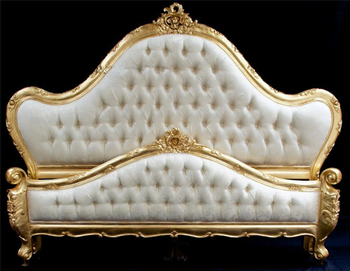 French Tufted Bed Gold leaf