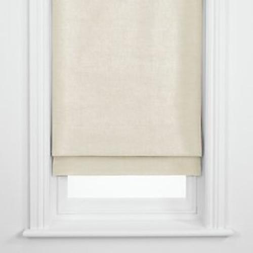 Roman Shade Blackout Lined, Cream Glazed Cotton